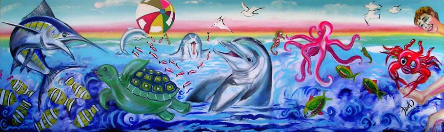 Fresque Piscine Les Ecureuils Mimizan - Acrylique