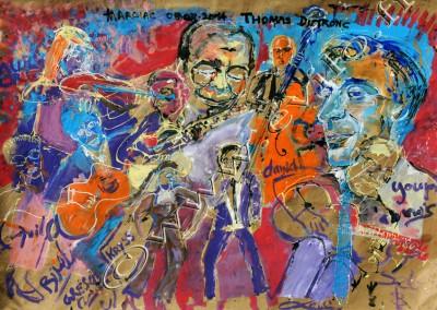 Thomas Dutronc Bireli Lagrene - Gouache on Kraft / 175x269cm