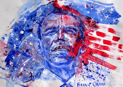 Barack Obama - Gouache sur Papier on Paper / 29,7x42cm