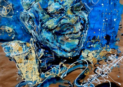 BB King - Acrylic sur Papier on Kraftpaper / 100cmx80cm