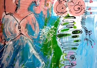 Femmes Mode - Acrylic sur toile on canvas / 73x52cm