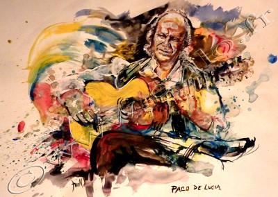 Paco De Lucia - Gouache sur Papier on Paper  / 29,7x42cm