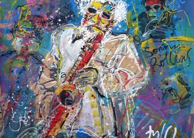Sonny Rollins - Acrylic sur Papier on Kraftpaper / 68x168cm
