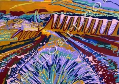 Champ de Lavande Lavender Field - Acrylic sur toile on canvas / 100x100cm